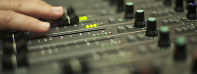 Audio console closeup at our Orlando studios.