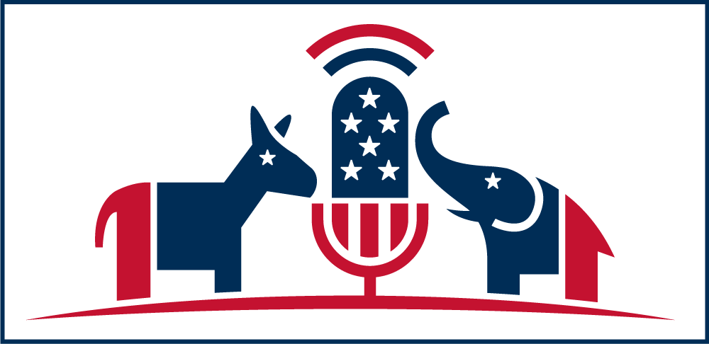 SunSpots Productions political image with red, white and blue Donkey and Elephant in front of a microphone